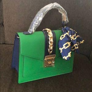 Aldo Satchel Bag Green/Navy Blue